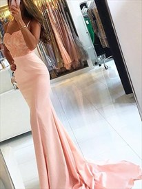 Spaghetti Strap Sweetheart Lace Bodice Mermaid Prom Dress With Train