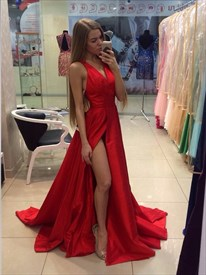 Red Sleeveless V-Neck A-Line Satin Long Prom Dress With Side Split