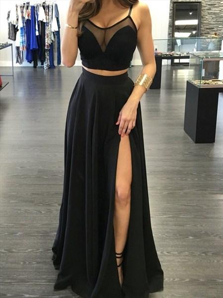 Black Two Piece Spaghetti Strap A-Line Prom Dress With Sheer Neckline