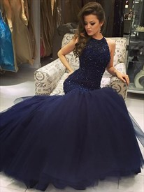Navy Blue Sleeveless Beaded Bodice Drop Waist Tulle Mermaid Prom Dress