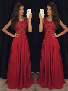 Burgundy Scoop Neckline Lace Top Chiffon Bottom A-Line Long Prom Dress