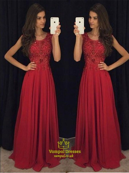 Burgundy Scoop Neckline Lace Top Chiffon Bottom A-Line Long Prom Dress