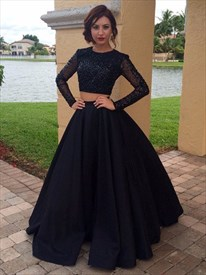 2033ecc4e9d Long Sleeve Beaded Bodice Floor Length A-Line Two Piece Formal Dress