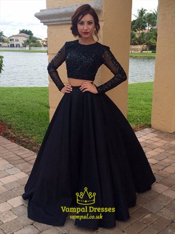 Long Sleeve Beaded Bodice Floor Length A-Line Two Piece Formal Dress