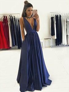 Sleeveless Plunge V Neck Floor Length A-Line Taffeta Evening Dress