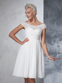 Knee Length Cap Sleeve Chiffon Wedding Dress With Illusion Neckline