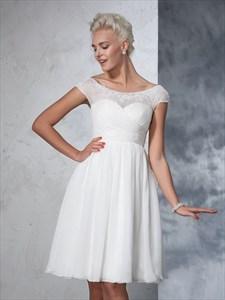 Knee Length Cap Sleeve Chiffon Wedding Dress With Illusion Neckline