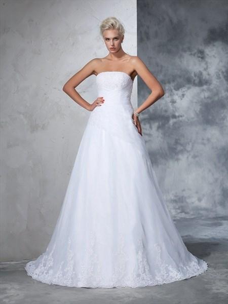 Simple Elegant Strapless Floor Length Lace Embellished Wedding Dress