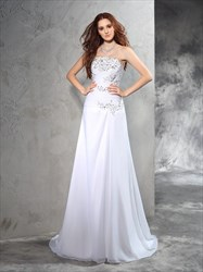 White Strapless Floor Length Beads Embellished Chiffon Wedding Dress