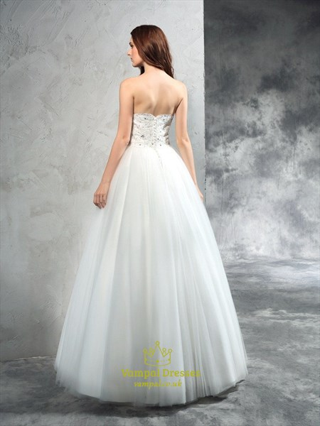 Elegant Strapless Sweetheart Lace Bodice Tulle Skirt Wedding Dress