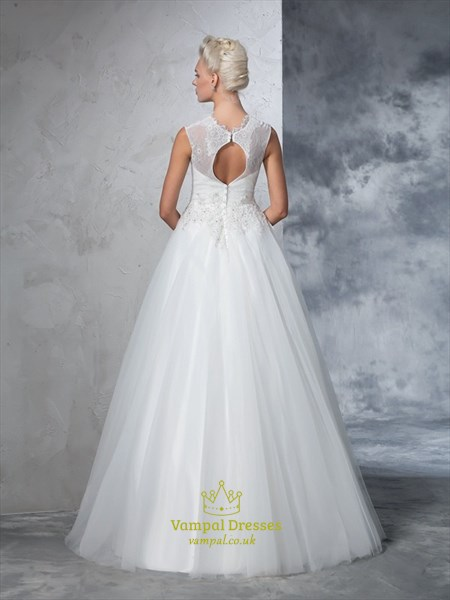 Illusion Sleeveless Lace Top A-Line Wedding Dress With Keyhole Back