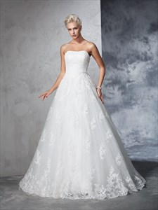 Simple Elegant Strapless Lace Overlay A-Line Ball Gown Wedding Dress