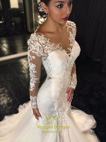 Trumpet/Mermaid Illusion Long Sleeve Lace Applique Tulle Wedding Dress