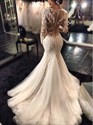 Trumpet/Mermaid Illusion Long Sleeve Lace Applique Tulle Wedding Dress
