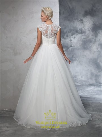 White A-Line Organza Ball Gown Wedding Dress With Lace Cap Sleeves