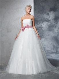 Strapless Lace Bodice A-Line Ball Gown Wedding Dress With Bow On Front
