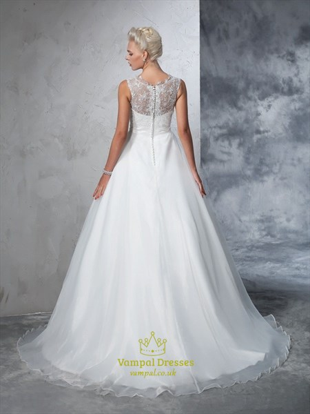 Elegant Sleeveless Floor Length Wedding Dress With Illusion Lace Top