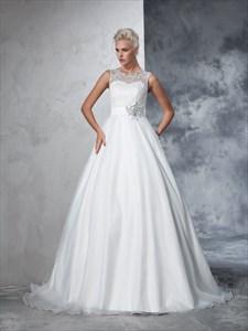 Elegant Sleeveless Floor Length Wedding Dress With Illusion Lace Top