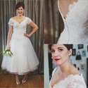 A-Line Tea Length V-Neck Cap Sleeve Lace Top Tulle Skirt Wedding Dress