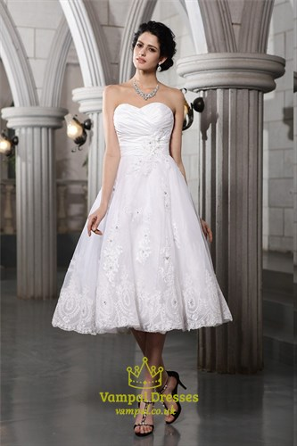 Tea Length A-Line Strapless Ruched Bodice Wedding Dress With Lace