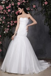 Trumpet/Mermaid Strapless Sweetheart Neckline Drop Waist Wedding Dress