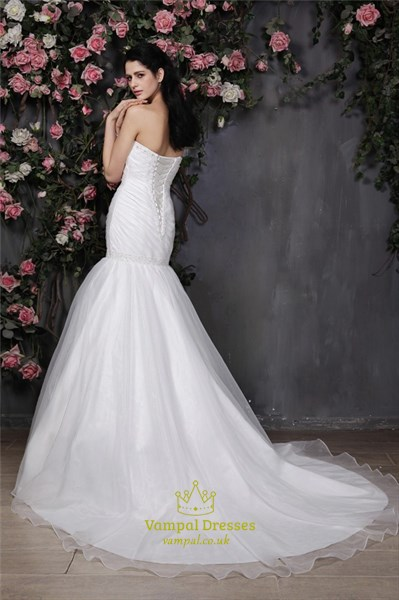 Trumpet/Mermaid Strapless Sweetheart Neckline Drop Waist Wedding Dress