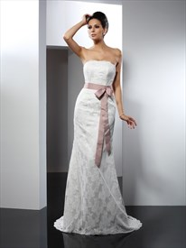 Elegant Strapless Floor Length Lace Mermaid Wedding Dress With Belt