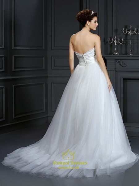 Simple Strapless White Ruched Bodice A-Line Ball Gown Wedding Dress