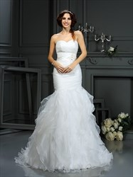 Strapless Sweetheart Ruched Bodice Ruffled Mermaid Wedding Dress