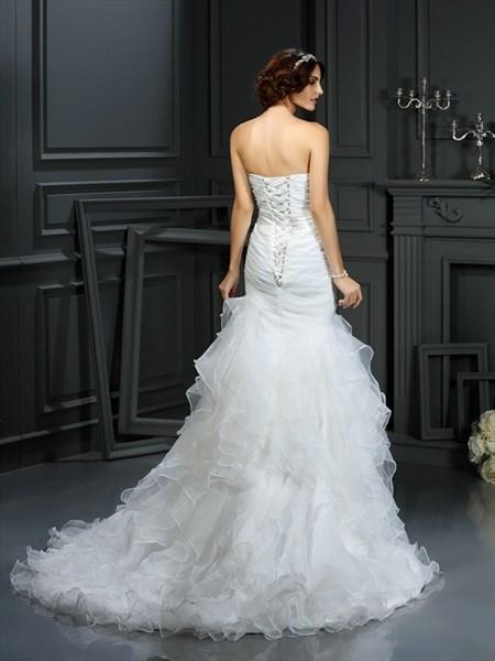 Strapless Sweetheart Ruched Bodice Ruffled Mermaid Wedding Dress