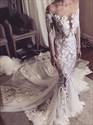 Illusion Sheer Neckline Long Sleeve Mermaid Wedding Dress With Train