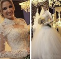 Long Sleeve Lace Beaded Bodice Tulle Skirt Ball Gown Wedding Dress