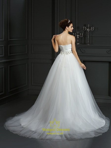 Strapless Sweetheart A-Line Ball Gown Wedding Dress With Beaded Waist