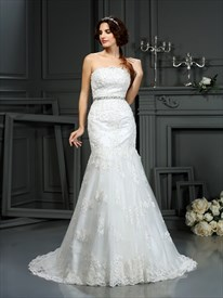 Trumpet/Mermaid Strapless Lace Long Wedding Dress With Beaded Waist