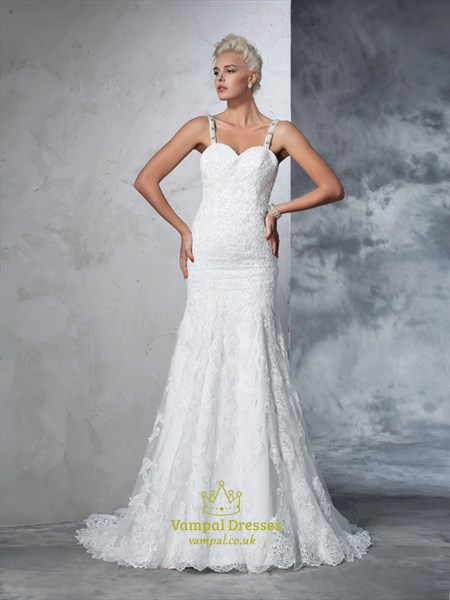 Sleeveless Sweetheart Mermaid Lace Overlay Wedding Gown With Open Back