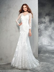 Elegant Illusion Long Sleeve Mermaid Floor Length Lace Wedding Dress
