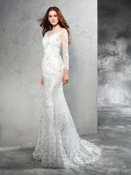 Elegant Illusion Long Sleeve Mermaid Floor Length Lace Wedding Dress
