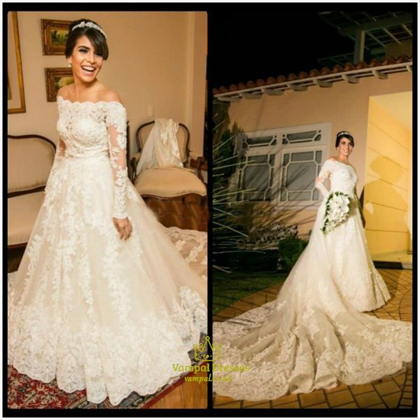 Off The Shoulder Long Sleeve Wedding Dress With Cathedral Length Train