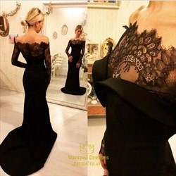 Black Off The Shoulder Sheer Lace Long Sleeve Mermaid Evening Dress
