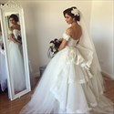 Strapless A-Line Tulle Ball Gown Wedding Dress With Lace Embellished