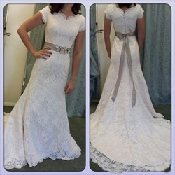 Elegant White Cap Sleeve Mermaid Lace Overlay Wedding Dress With Belt