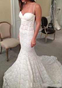 Spaghetti Strap Sweetheart Mermaid Lace Wedding Dress With Open Back