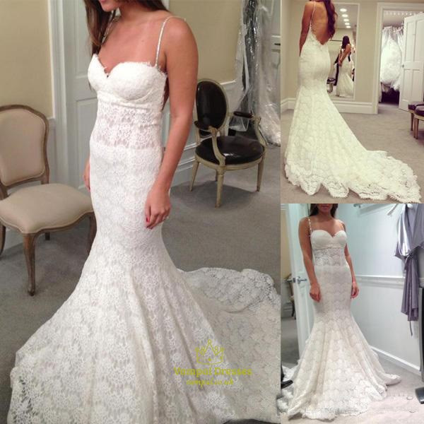 Spaghetti Strap Sweetheart Mermaid Lace Wedding Dress With Open Back