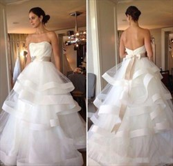 A-Line Strapless Ruffled Bottom Ball Gown Wedding Dress With Belt