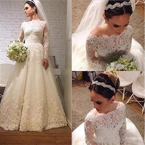 Elegant Long Sleeve Lace Applique A-Line Floor Length Wedding Dress