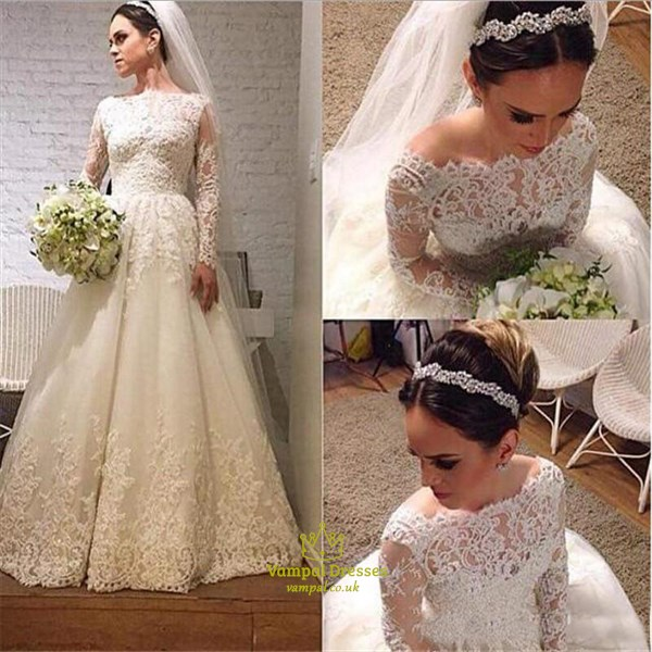 Elegant Long Sleeve Lace Applique A-Line Floor Length Wedding Dress