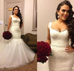 Sleeveless Lace Bodice Drop Waist Mermaid Wedding Dress With Train