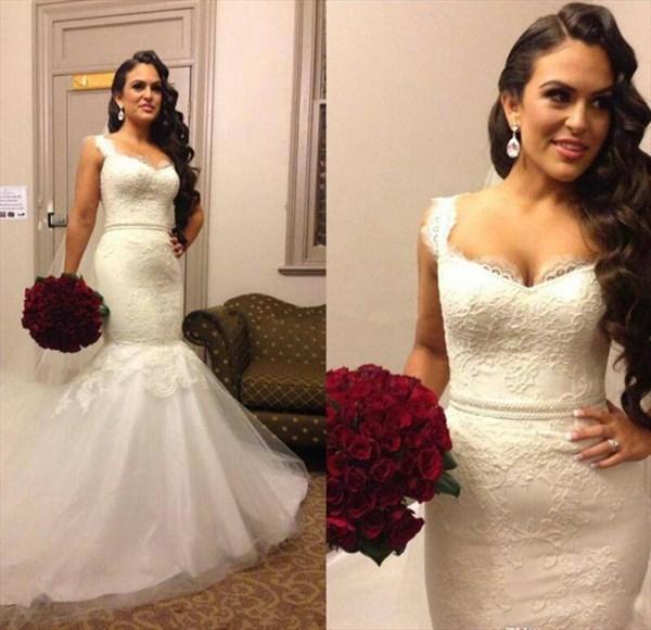 Sleeveless Lace Bodice Drop Waist Mermaid Wedding Dress With Train