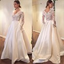 Simple Elegant Long Sleeve V-Neck A-Line Lace Top Satin Wedding Dress