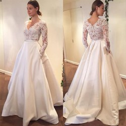Simple Elegant Long Sleeve V-Neck A-Line Lace Top Satin Wedding Dress